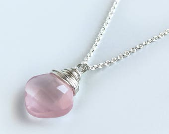Rose Quartz Jewelry for Women - Natural Rose Quartz Pendant Necklace - Sterling Silver - Pink Rose Quartz Necklace - Sterling Silver