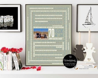 70 Reasons We Love DAD/ For PAPA / For Him / 70th Birthday Gift / DIGITAL File / Unique Gift / Custom Word Art / 16x20 / Wall Art