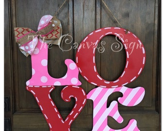 LOVE Valentine's Day wooden door hanger