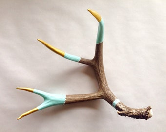 Painted Antler Shed - Large - Aqua, Gold, White