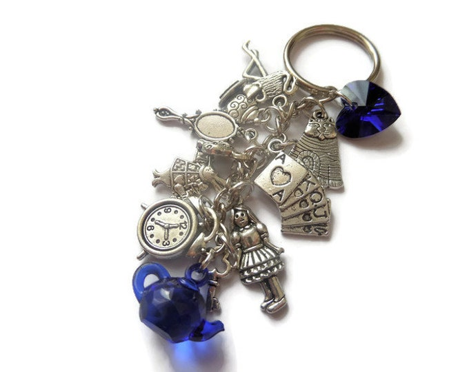 alice wonderland gift, alice keyring, alice keychain, alice bag charm, wonderland jewellery, wonderland jewelery, tea party, favours