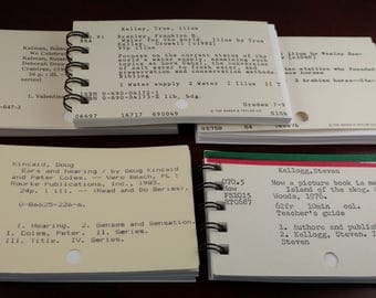 Five Library Card Catalog Notebooks