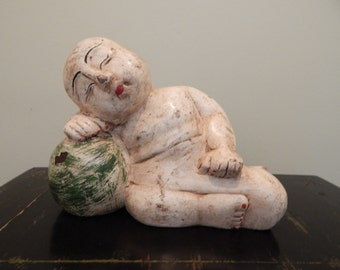 Chinese Wood Sculpture Carving Good Luck Baby Watermelon 1910