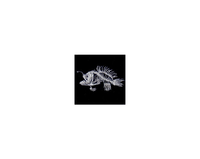 """Print of miniature painting of a Bonefish. 1 1/4 x 1 1/4"""" print of a Bonefish painting on 5"""" square german etching paper"""
