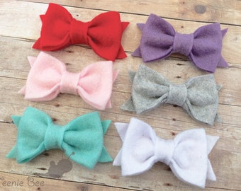 Felt Bow Hair Clip CHOOSE ONE - Felt Hair Clip - Felt Bow Clip - Felt Bow Clippie - Felt Hair Bow - Baby Felt Hair Bow