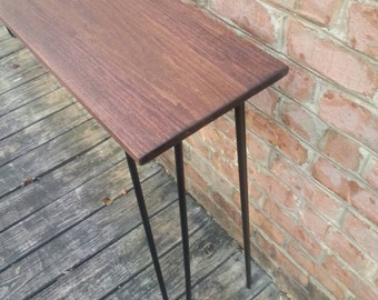 Beautiful red oak stain poplar console table sofa table with black hairpin legs