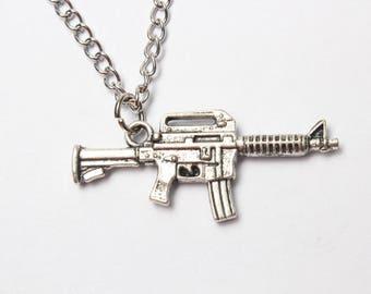 Rifle Necklace, SMALL Gun Jewelry, Machine Gun Pendant Necklace, Gun Charm, Gun Jewelry, Machine Gun Necklace, Gun Gift, Silver Necklace