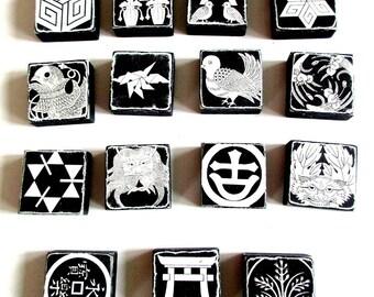 Decoupaged 15 Wooden Blocks,  Vintage Decorative Accessory, Blocks decoupaged w/Japanese Crests