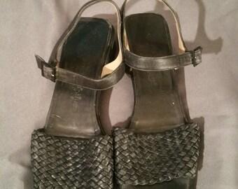 Black Leather Weave Salvatore Ferragamo Sandals 9 1/2B