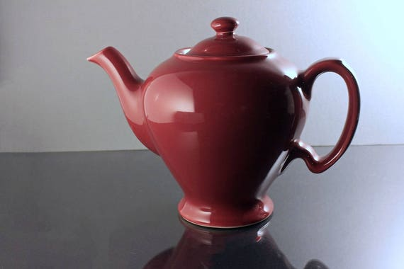 Teapot, McCormick Tea, Hall, Maroon, Made in USA, 3 Cup