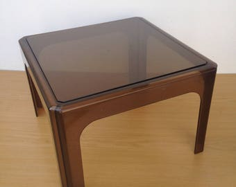 End table Plexiglass + tray glass Vintage 70s occasional low Table