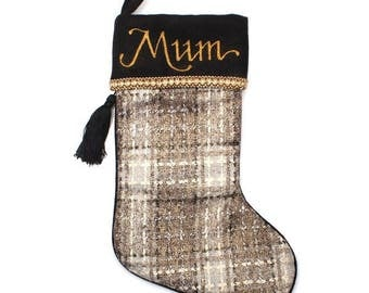 Personalised Plaid Christmas Stocking