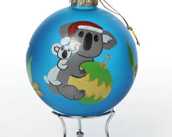 Frosted Blue Australiana Koala Bauble