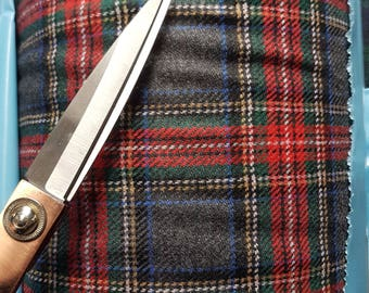 Scottish tartan pure wool fabric  ,material ideal for coats and suits.with label