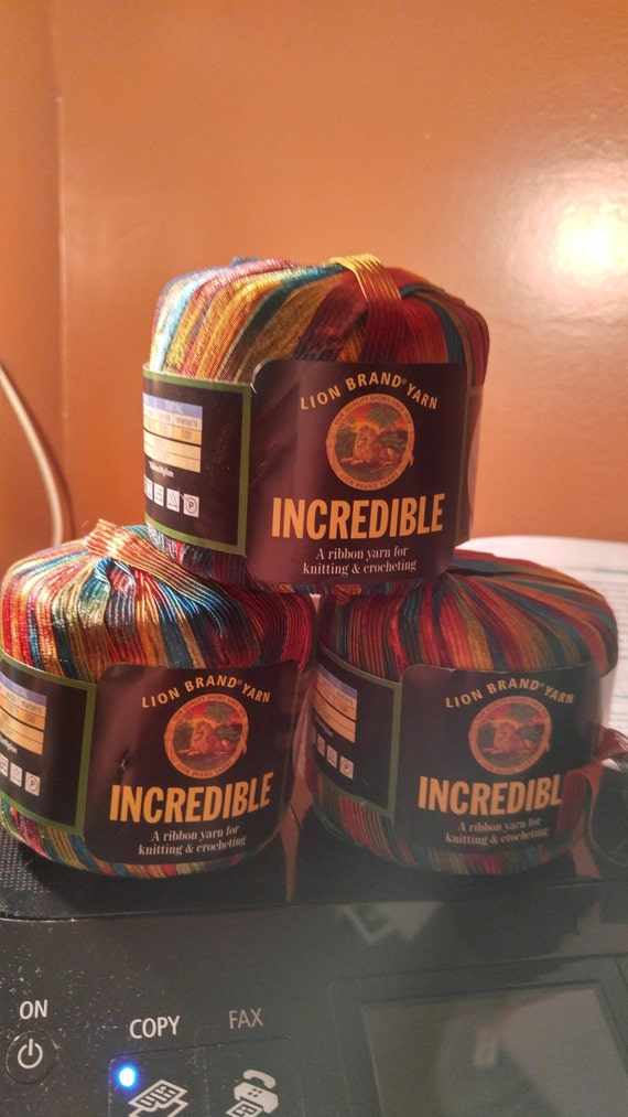 3 Skeins Balls Lion Brand Incredible Ribbon Yarn Copper Penny Nylon From Thejerzeygirlcrafts