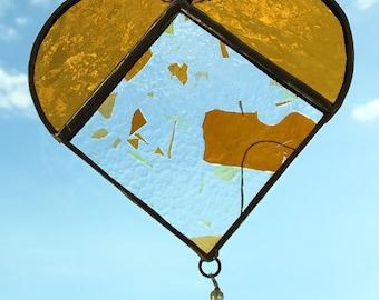 I Heart You - Amber Yellow Sun Catcher