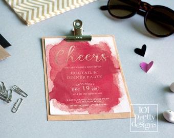Vintage Birthday Invitation Template Printable Birthday - Red and gold birthday invitation templates