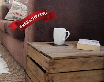 Wooden Vintage Apple Crate Boxes with Handmade Lids
