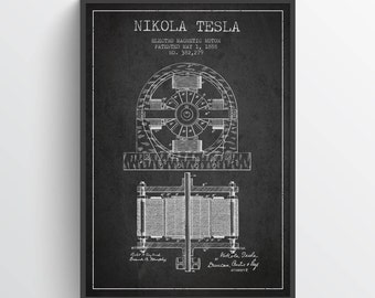 1888 Nikola Electro Magnetic Motor Patent Print, Nikola Tesla Poster, Nikola Tesla Art, Home Decor, Gift Idea, FINT05P