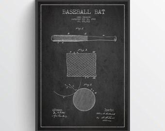 1908 Baseball Bat Patent Wall Art Poster, Baseball Poster, Baseball Print, Baseball Decor, Home Decor, Gift Idea, SPBA12P