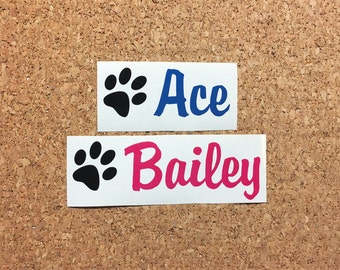 Dogs Name Decal - Pets Name Vinyl Decal, Dog Bowl Sticker