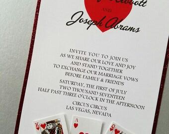 Glitter Las Vegas Inspired Playing Card Wedding Invitation, Ace of Hearts wedding invitation Casino Inspired Wedding Invitation set