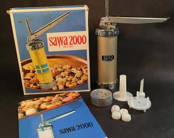 Cookie Press Made in Sweden, Vintage Sawa 2000 Deluxe, Complete, Spritz, Box + Instructions + Recipes, Cookie, Biscuit Maker, Baking