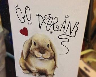 Bunny GO VEGAN! original acrylic on canvas painting artwork