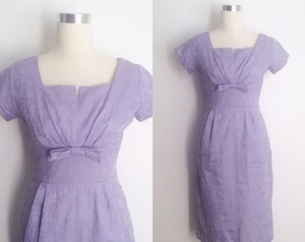 1950s Lilac Wiggle Dress Size Small | 50s Purple Dress with Brocade Pattern
