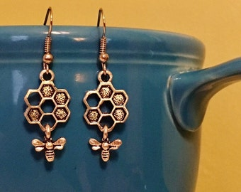 Honey Comb and Bee Earrings - Bohemian, Gypsy Style, Antique Silver