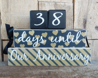 Countdown  blocks, days until (weeks until)  Our Annevisary, Our Wedding, Mr. & Mrs., I Do, We Do, Anniversary countdown, Wedding countdown