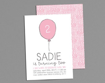 Balloon Birthday Party Invitation Printable, Pink Girl Birthday Invitations, 2nd Bday Invite, 1st, 3rd 4th Simple Custom Color, First Second