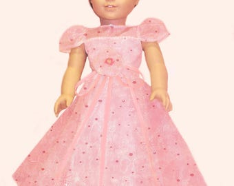 "For 18"" American Girl Doll - Glittering Pale Pink Organza A-Line Sequins Long Dress"