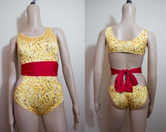 French Fry Bodysuit Open Back Leotard Funny Clothing Food Bodysuit Cutout Leotard Festival Bodysuit Ketchup n French Fries Print One Piece