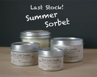 Summer Sorbet Soy Candle - Tins With Clear Lid - 2oz, 4oz or 8oz or Mason Jars 170g