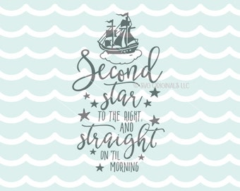 Peter Pan SVG Second Star to the Right SVG Vector file. So many uses! Cricut Explore and more. Peter Pan Stars Baby Child Nursery art SVG