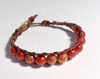 Redwood and Bayong wood bead bracelet