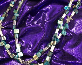 Abalone Sea and Sand charm necklace