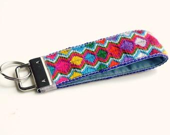 Fabric Keychain, Key Fob Wristlet, Key Fob Keychain, Key Wrist Strap, Gypsy Tribal, Gift for Her, Key Lanyard