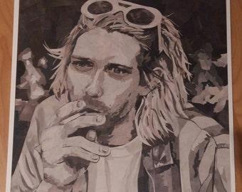 "Kurt Cobain - 12x12"" High quality PRINT of newspaper collage original"