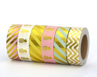 Washi Tape Set Gold Foil Pineapples Polka Dots Chevron & Stripes