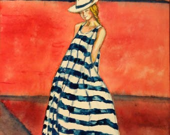 Original Watercolor Painting, Girl in fashion Dress