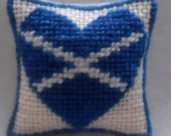 Hand Stitched Dolls House Cushions  1/24th scale Love Scotland    Cross Stitch Design