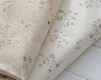 Cotton linen fabric  Floral fabric Vintage flowers on natural and offwhite linen Shabby chic tiny flowers, Medium weight - 1/2 yard