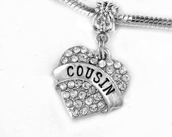 Cousin Charm  Silver  (Charm Only)  Best COUSIN gift  Special Jewelry