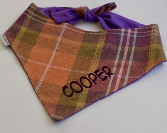 Personalized Fall Plaid Dog Bandana || Flannel Pet Scarf with Orange Lavender and Green || Puppy Dog Gift by Three Spoiled Dogs