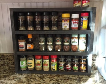 Handmade Rustic Kitchen Spice Rack - Choose Your Stain Color
