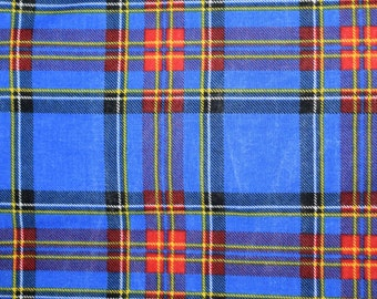 Bright Blue Plaid Fabric, Red Plaid Fabric, Red and Blue Plaid Fabric, Quilting Fabric, Fabric, Quilts,