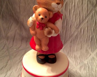 Music Box, Cat Holding a Teddy Bear, Vintage Schmid, Musical Collectibles, Gordon Fraser, 1985, Taiwan