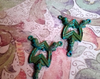 Verdigris patina brass Filigree Art Deco style necklace connectors UK Seller UK Beads